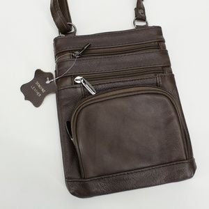 NWT 90's Brown Genuine Leather Organizer Purse
